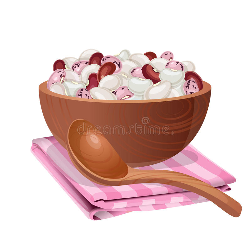 Wooden bowl with white, red, and pink beans in it vector illustration