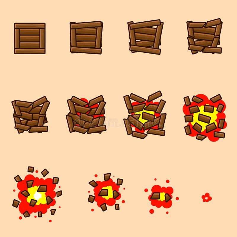 Wooden box, cast animation vector illustration