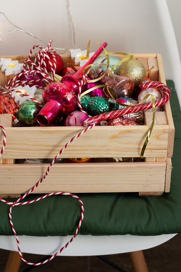 box of the christmas toys stock photography