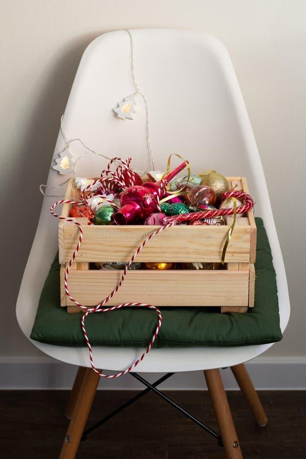 Wooden box of christmas toys stock photos