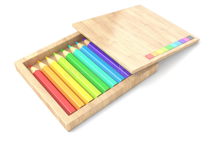 Wooden box with colorful pencils. 3D vector illustration
