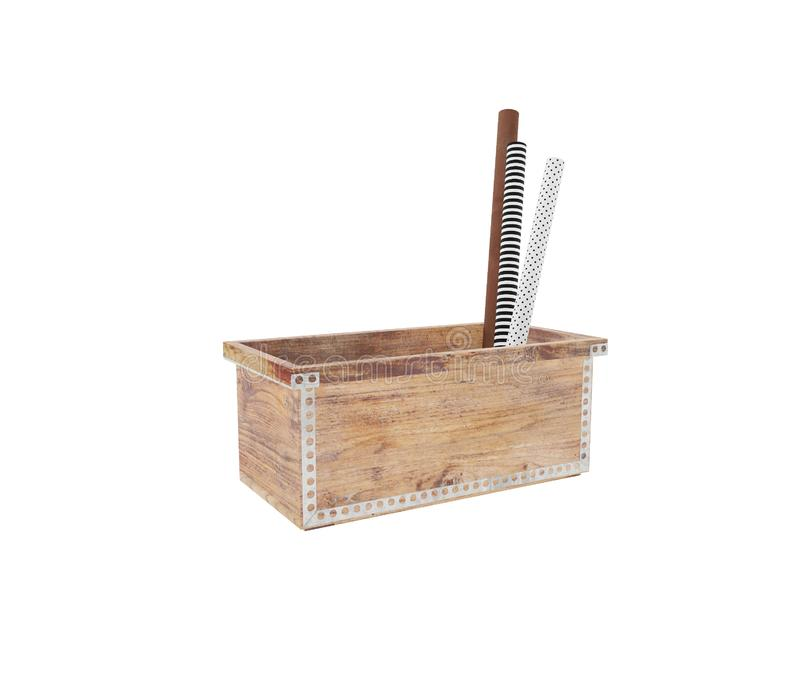 Wooden box with craft pappers stock photos