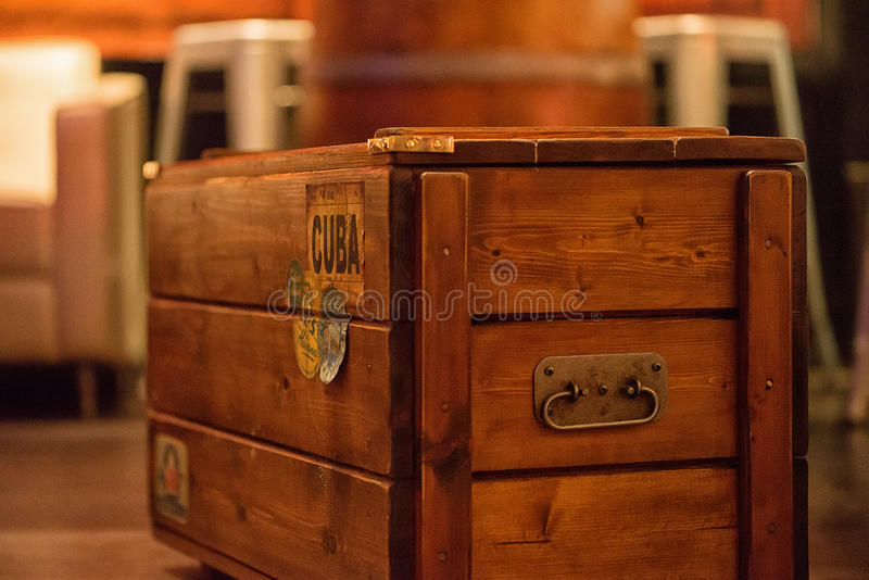A wooden box with a Cuba label royalty free stock photo