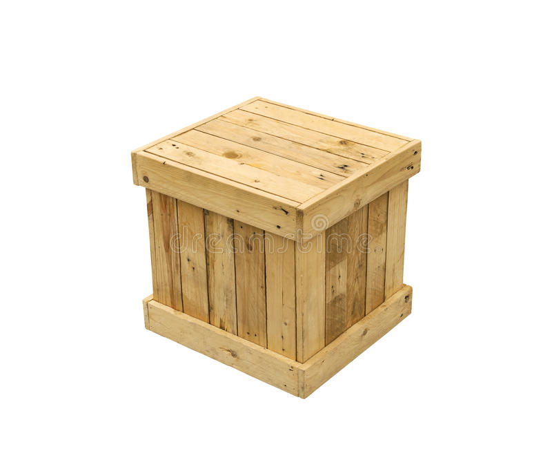 Wooden box export pallet shipping cube isolated stock photos
