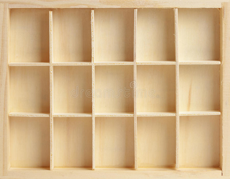 Wooden box on fifteen cells. Similar to a rack royalty free stock photography