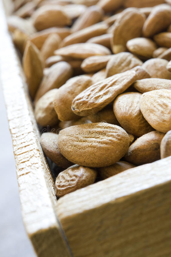 Free Wooden Box Filled With Almonds Royalty Free Stock Photo - 13675945