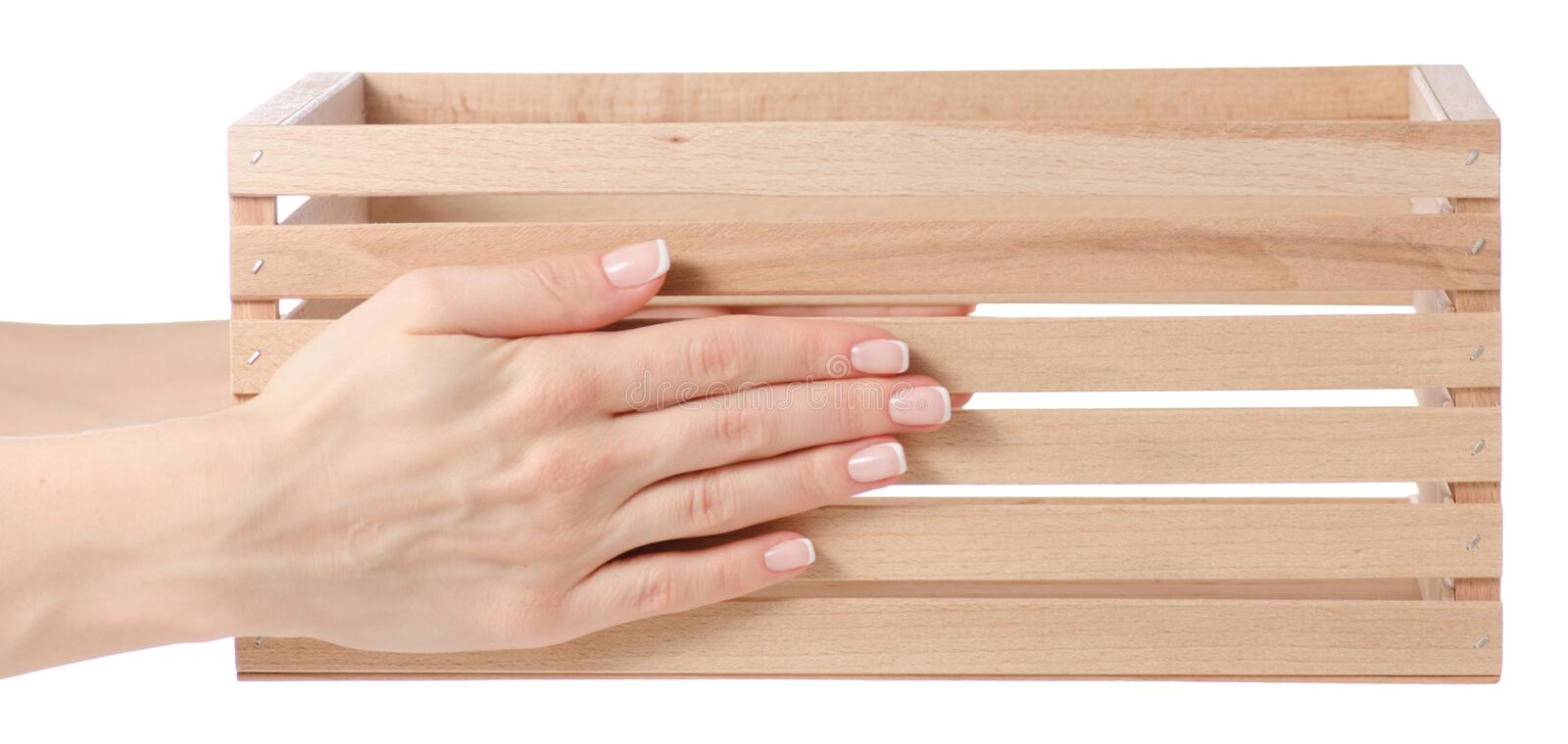 Wooden box in hand stock image