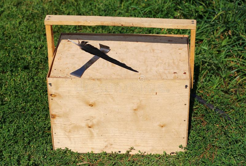 Wooden box with handle for transferring bee frames. Beekeeping equipment royalty free stock photography