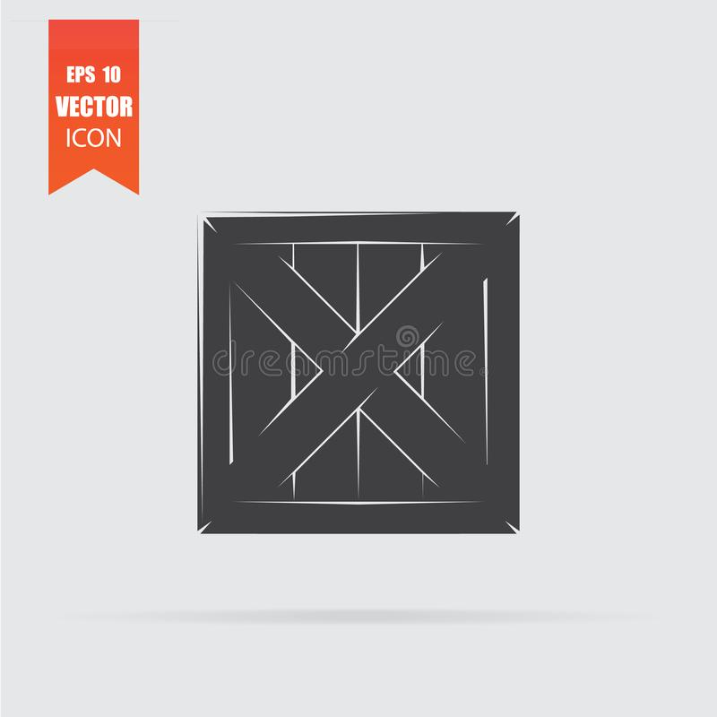 Wooden box icon in flat style isolated on grey background. For your design, logo. Vector illustration royalty free illustration