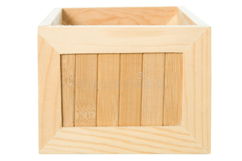 Wooden box isolated on white background stock photos