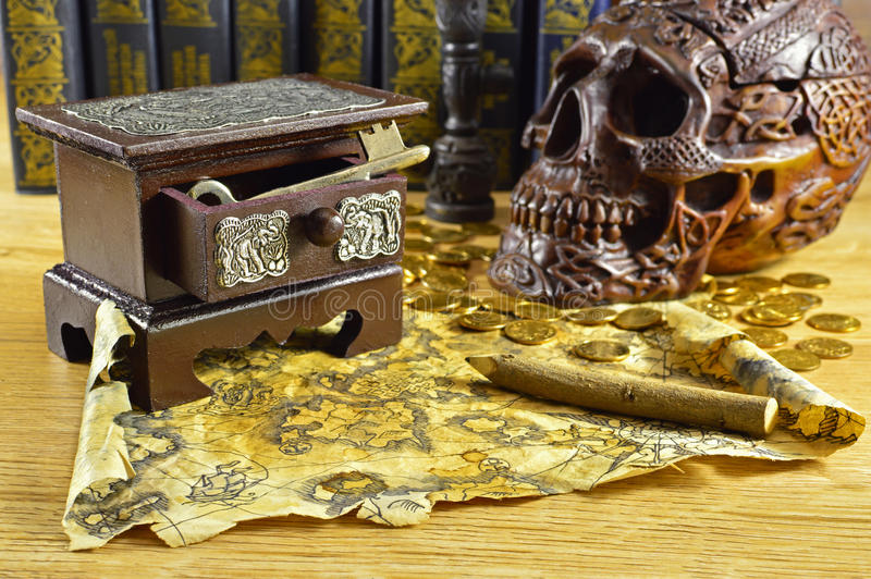 Wooden Box With Key And Skull Stock Photo