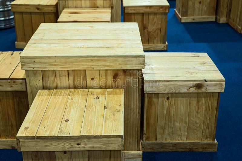 Wooden box pattern. Crate, Table and chairs made of wooden box pattern royalty free stock photography