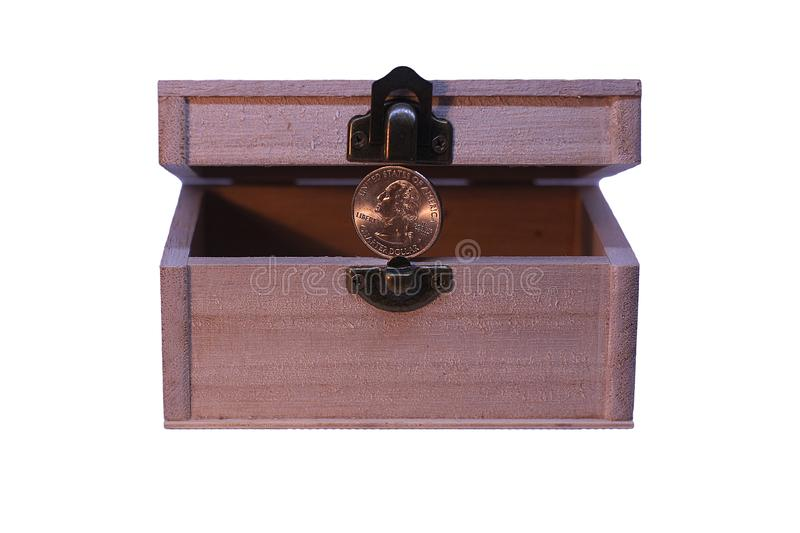Wooden Box with Quarter Dollar for Cash Box, Surprise or Gift Bo. X Saving Account, Loans White Background stock photo