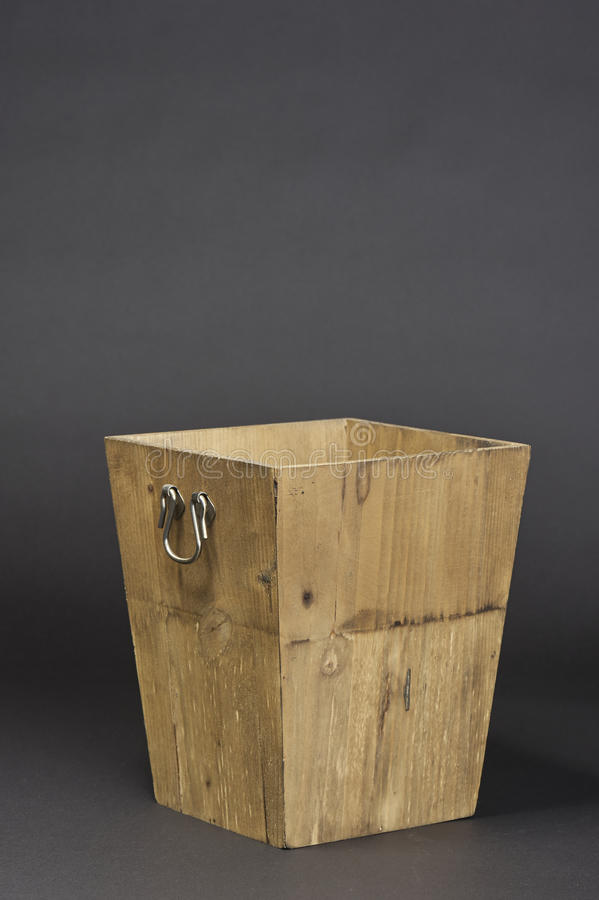 Wooden box. Rectangular wooden plant box for interior decorative flowers stock images