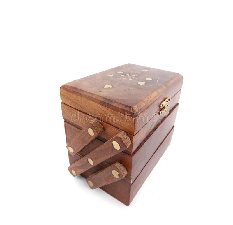 Wooden box. Wooden jewelry box on white ground stock images