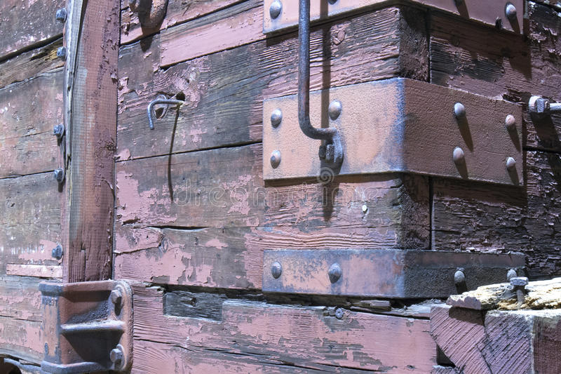 Wooden Boxcar on Railroad Car. Wooden boxcar on an antique train stock photos