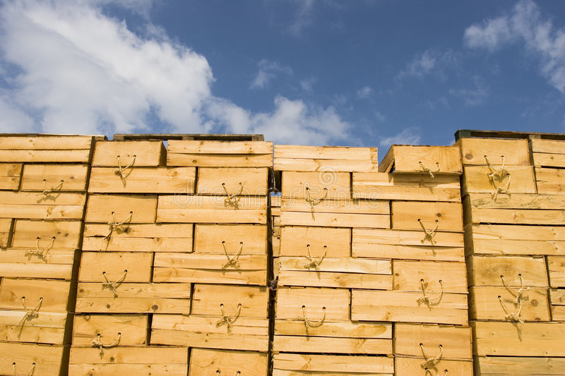 Wooden boxes stock images