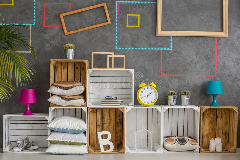 Wooden boxes as a shelf stock images