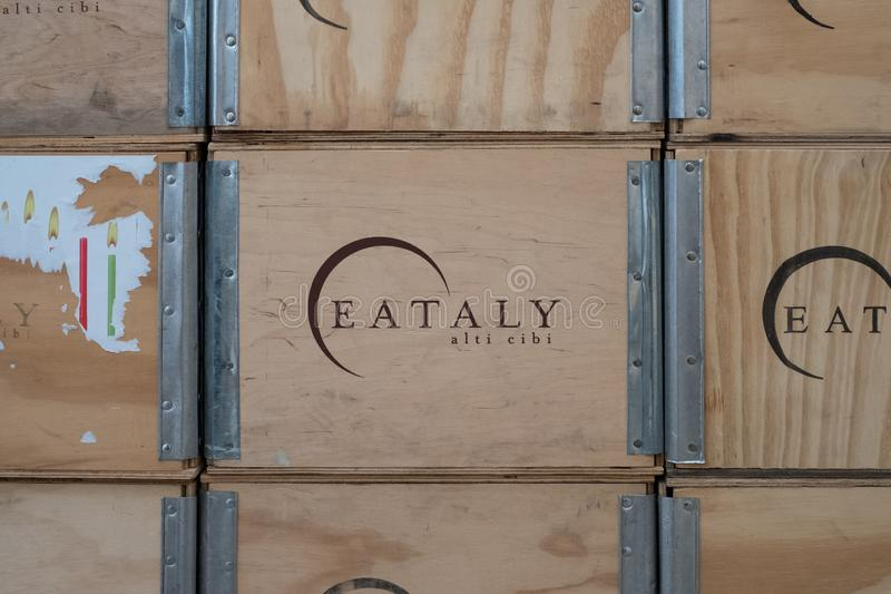 Wooden boxes with `Eataly` logo printed on them at Eataly high-end food market. Eataly opened its first branch in Turin in 2008. Turin, Italy. Wooden boxes with royalty free stock images