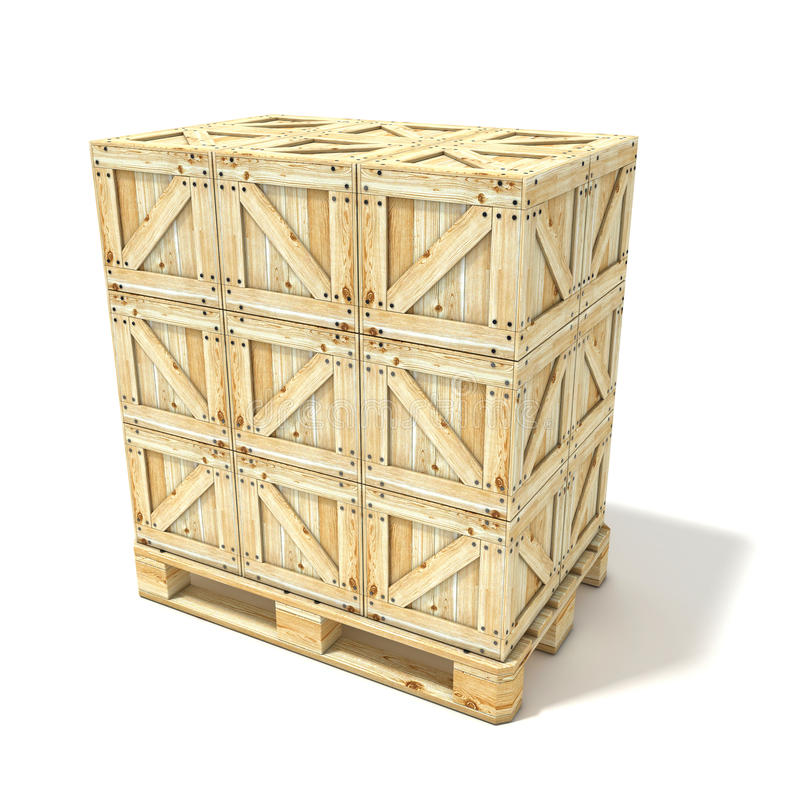 Wooden boxes on euro pallet. 3D render royalty free stock photos