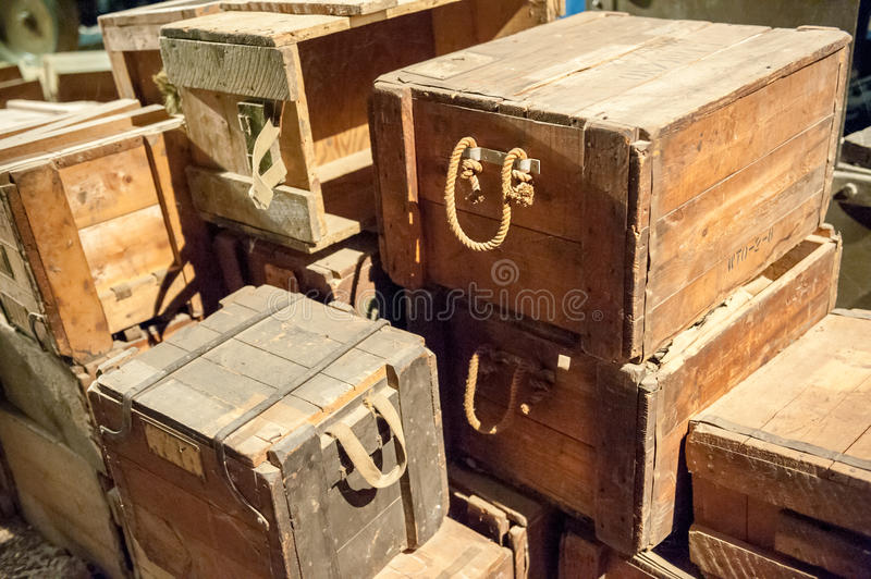 Wooden boxes. Stack of vintage wooden boxes with rope handles royalty free stock image