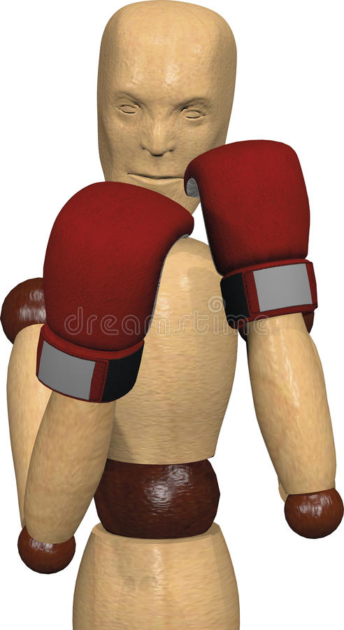 Wooden boxing fighter royalty free stock image