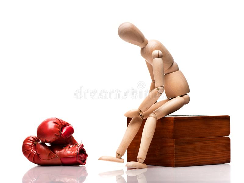 Wooden boxing mannequin stock photography