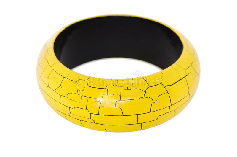 Wooden bracelet isolated on white stock photos