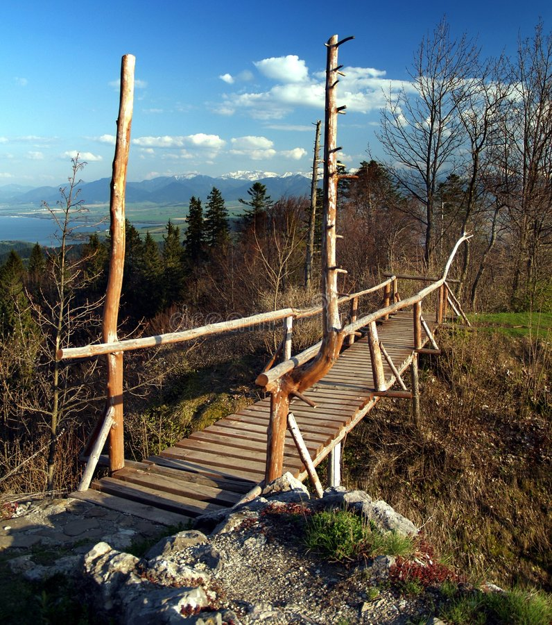 Wooden bridge. Reconstructed wooden bridge located at archaeological repository of Liptovsky Castle near Kalameny village in Slovakia stock images