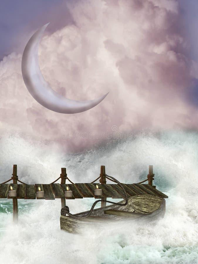 Wooden bridge royalty free illustration