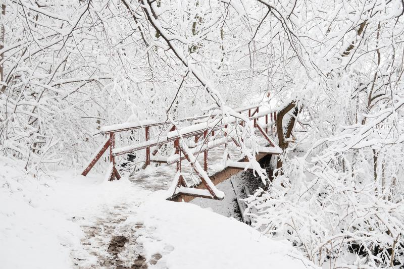 The wooden bridge across Horsky potok creek in Beskydy Mountains near Nydek in winter season with snow stock images