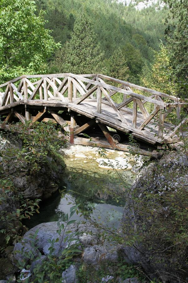 Wooden bridge at the base of Mt. Olympus in Greece. royalty free stock images