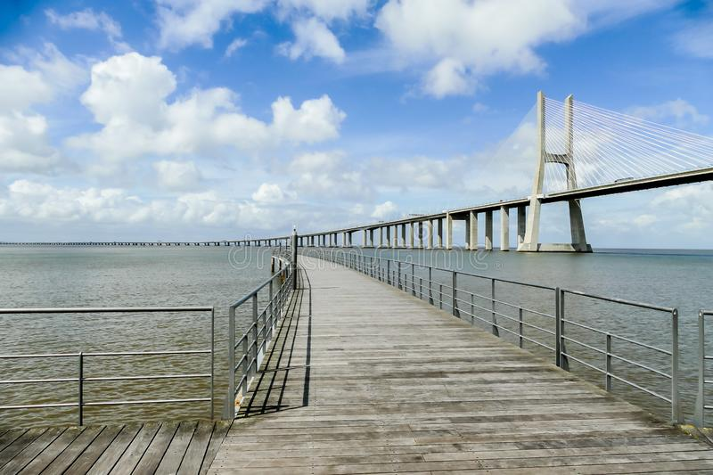Wooden bridge on the beach, beautiful photo digital picture, in Lisbon Capital City of Portugal. Wooden bridge on the beach, beautiful photo digital picture stock photography