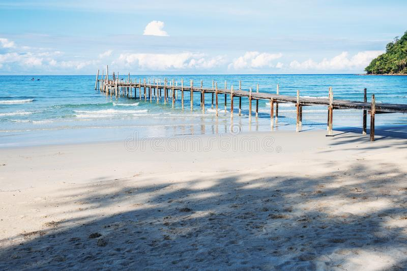 Wooden bridge on the beach. Wooden bridge at sunlight on the beach in Thailand royalty free stock images