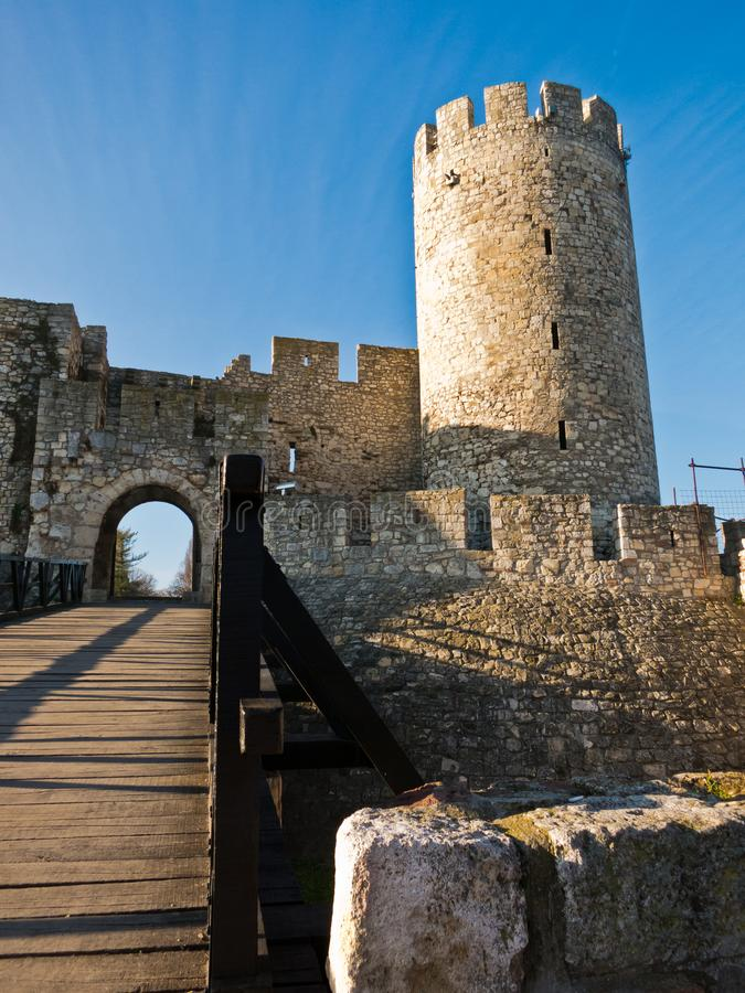 Wooden bridge, gate and tower at Kalemegdan fortress on a sunny autumn day in Belgrade stock photo
