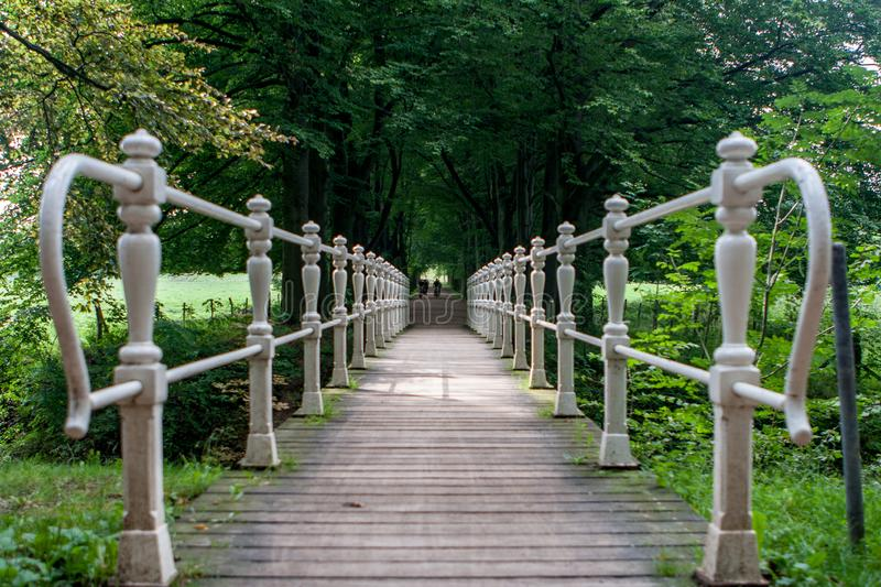 A wooden bridge with iron railing in a low perspective. Surrounded by trees and a couple of bicyclists in the background royalty free stock photography
