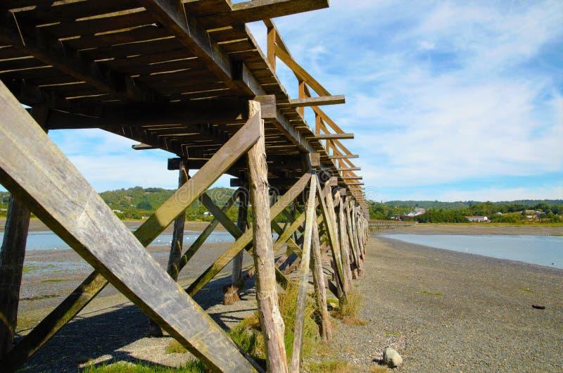 Wooden bridge on the island Aucar stock photos