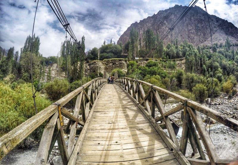Wooden bridge at Leh Ladakh. Scenic royalty free stock photography