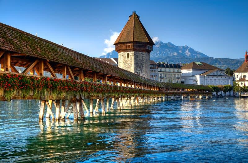 Wooden bridge in Lucerne stock images