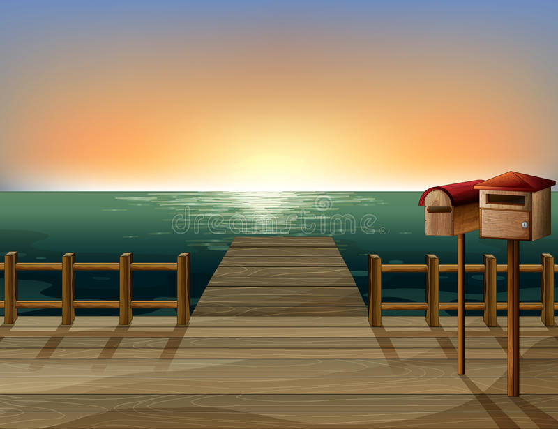 The wooden bridge and the mailbox. Illustration of the wooden bridge and the mailbox vector illustration