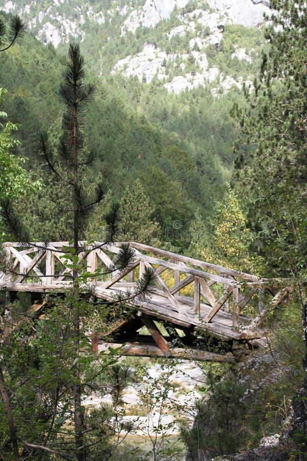 Wooden bridge on Mt Olympus Northern Greece. stock photos