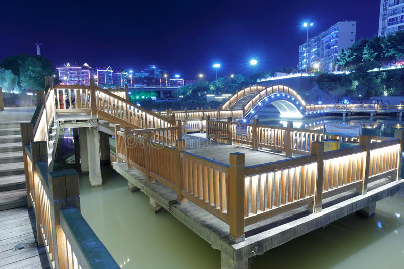 Wooden bridge night sight. Wood plank road night view, fuan city, fujian province, china stock images