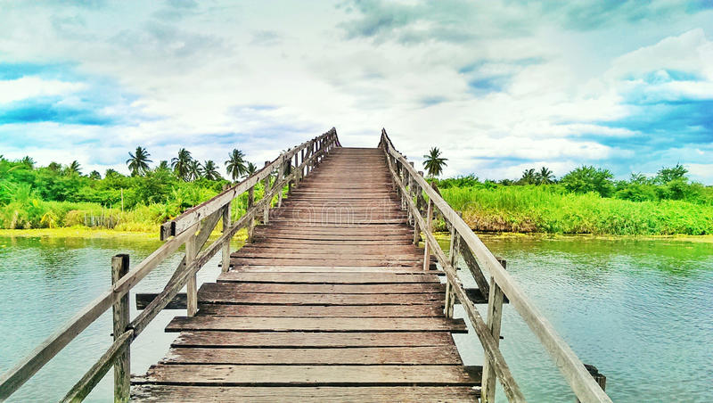 a wooden bridge stock photos
