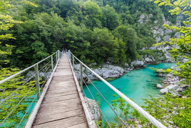 Wooden Bridge over rover Soca, Slovenia. In Julian Alps royalty free stock photos