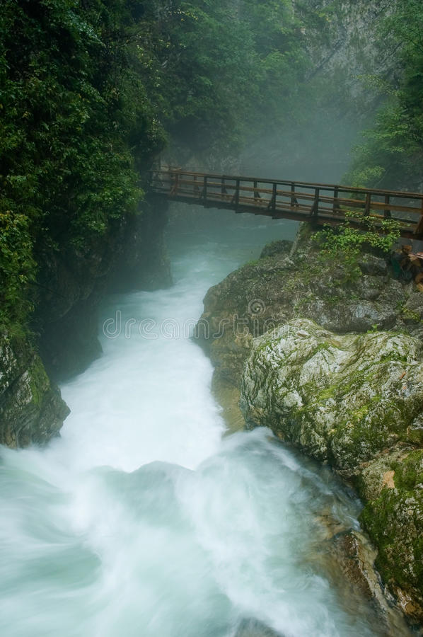 Free Wooden Bridge Over The Wild River Royalty Free Stock Image - 20909236