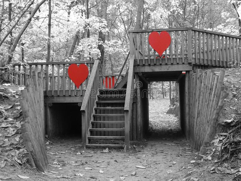 Wooden bridge with red hearts in forest. Grey scale playground kids stock images