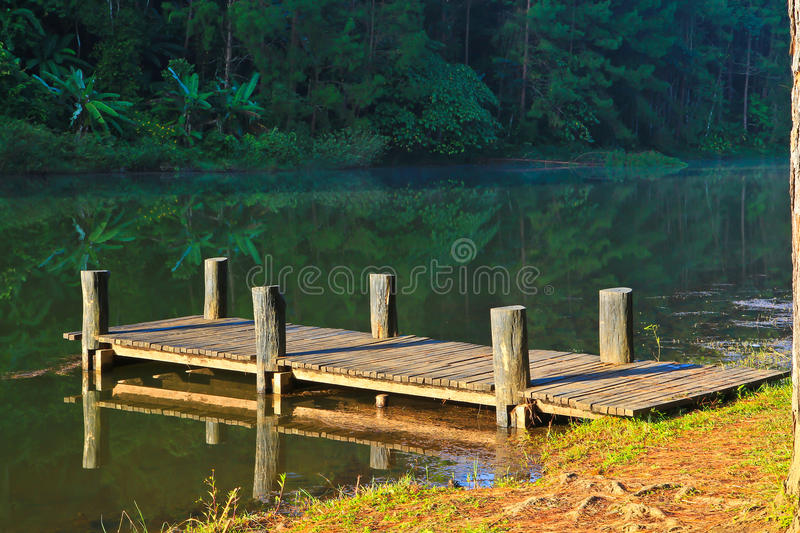 Wooden Bridge In The Reservoir Royalty Free Stock Images