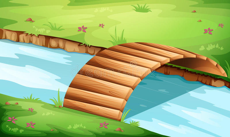 A wooden bridge at the river royalty free illustration