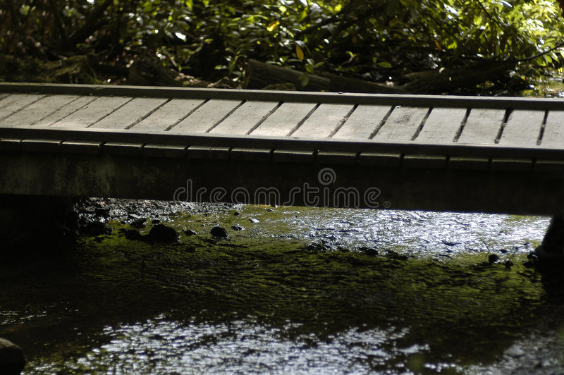 Wooden bridge and stream. A simple wooden platform bridge crosses a small stream royalty free stock images