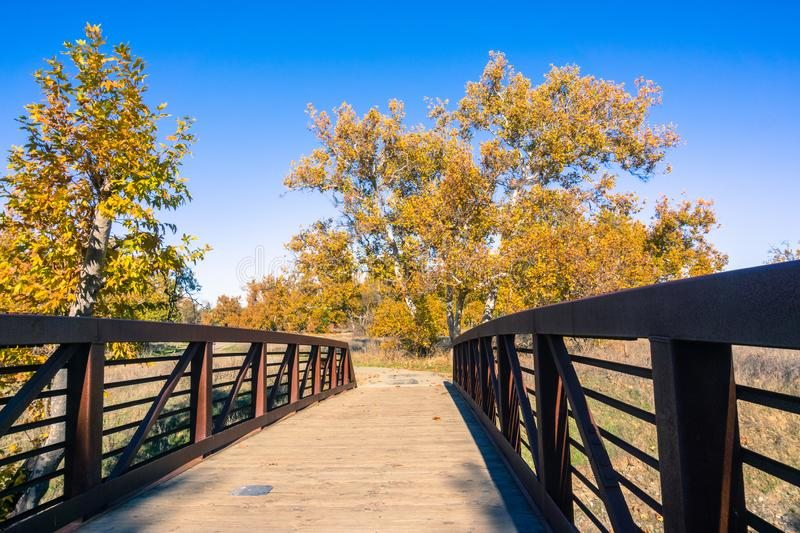 Wooden bridge in Sycamore Grove Park, Livermore, east San Francisco bay, California royalty free stock images
